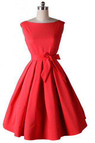 Noble Round Neck Sleeveless Solid Color Bowknot Embellished Women's Dress - RED 2XL