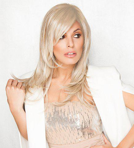 Fashion Charming Long Side Bang Vogue Fluffy Natural Wave Light Blonde Synthetic Wig For Women