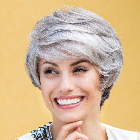 Hot Stylish Short Side Bang Synthetic Stunning Mixed Color Fluffy Wave Wig For Women