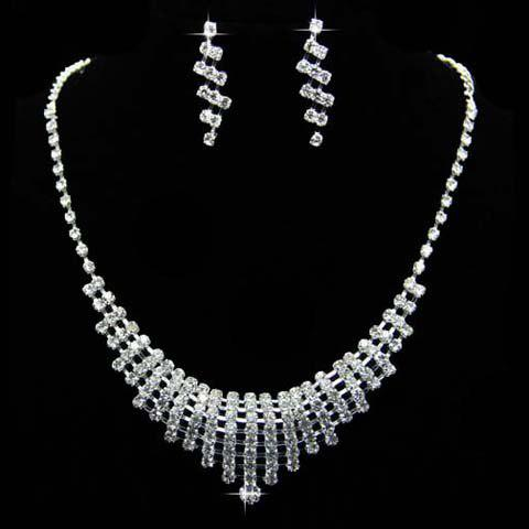Sale A Suit of Vintage Rhinestoned Hollow Out Pendant Necklace and Earrings