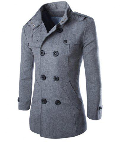 Outfits Turn-Down Collar Epaulet Design Double Breasted Long Sleeve Woolen Men's Peacoat