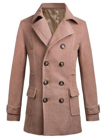 Buy Turn-Down Collar Two Pockets Double Breasted Long Sleeve Woolen Men's Peacoat - L APRICOT Mobile