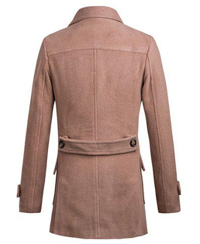 Hot Turn-Down Collar Two Pockets Double Breasted Long Sleeve Woolen Men's Peacoat - L APRICOT Mobile