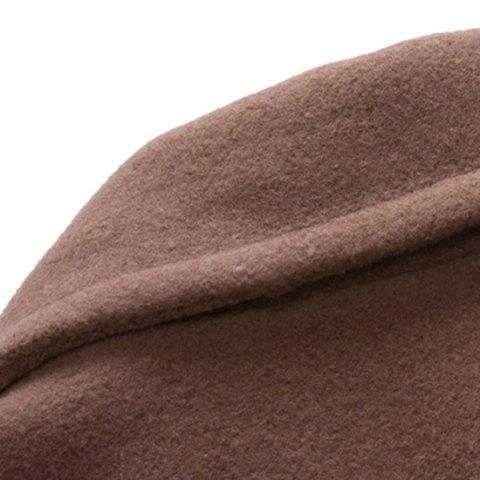 Discount Turn-Down Collar Two Pockets Double Breasted Long Sleeve Woolen Men's Peacoat - L APRICOT Mobile