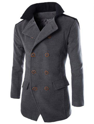 Trendy Color Block Spliced Turn-Down Collar Double Breasted Long Sleeve Woolen Men's Peacoat GRAY L