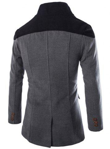 Shop Color Block Spliced Turn-Down Collar Double Breasted Long Sleeve Woolen Men's Peacoat - L GRAY Mobile
