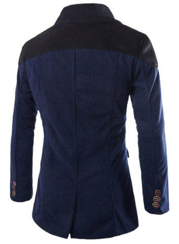 Fashion Color Block Spliced Turn-Down Collar Double Breasted Long Sleeve Woolen Men's Peacoat - XL CADETBLUE Mobile