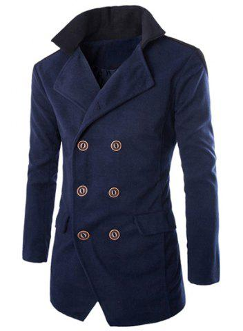 Hot Color Block Spliced Turn-Down Collar Double Breasted Long Sleeve Woolen Men's Peacoat - XL CADETBLUE Mobile