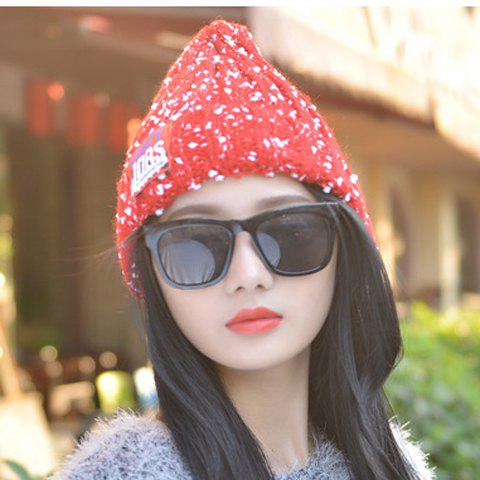 Outfit Chic Letter Label and White Tiny Pompon Embellished Knitted Beanie For Women