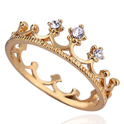Fancy Rhinestone Crown Shape Ring - ONE-SIZE WHITE Mobile