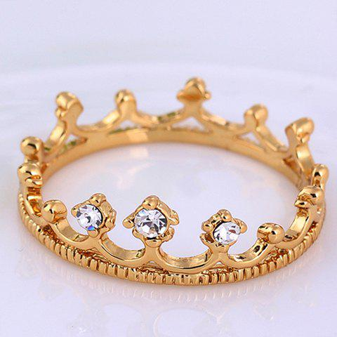 Cheap Rhinestone Crown Shape Ring - ONE-SIZE WHITE Mobile