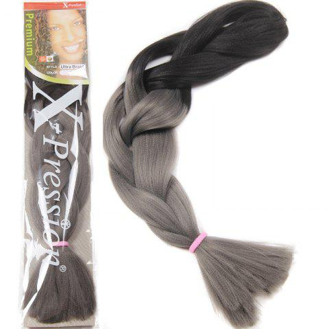 New Charming Long Heat Resistant Fiber Trendy Black Gray Ombre Braided Hair Extension For Women