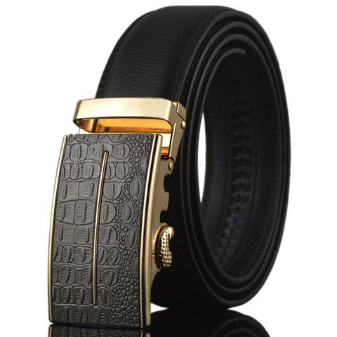 Fashion Stylish Crocodile Skin Shape and Bar Embellished Auto Buckle Belt For Men