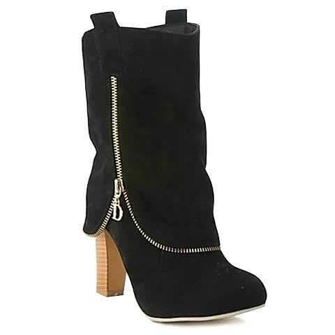 Discount Suede Slip On Mid Calf Boots