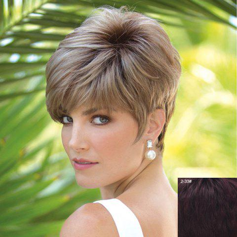 Affordable Vogue Short Capless Spiffy Towheaded Side Bang Natural Straight Real Natural Hair Wig For Women