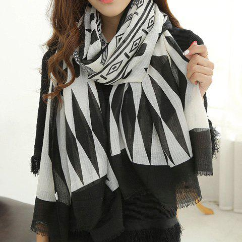 Affordable Chic Tribal Geometric Pattern Fringed Edge Scarf For Women