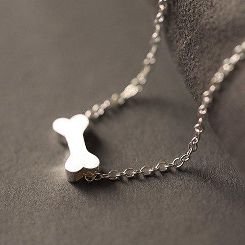 Trendy Fashionable Dull Polish Dog Bone Shape Necklace For Women