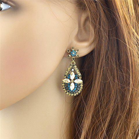 Affordable Pair of Vintage Rhinestoned Faux Crystal Water Drop Hollow Out Earrings For Women