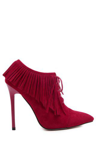 Hot Party Fringe and Pointed Toe Design Women's Ankle Boots