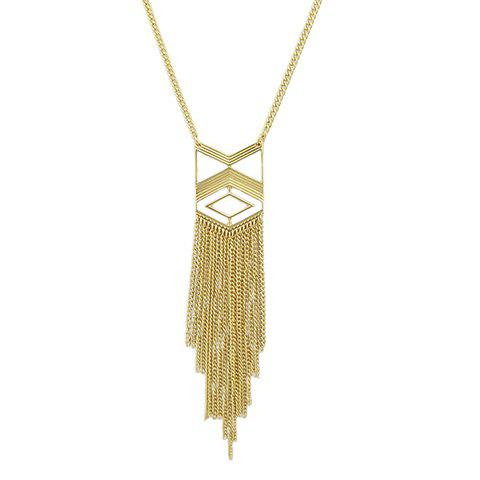 New Vintage Geometric Hollow Out Sweater Chain - GOLDEN  Mobile