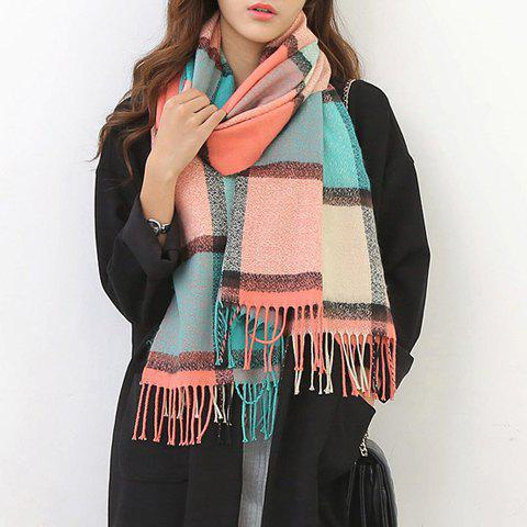 Outfit Chic Tartan Pattern Tassel Warmth Scarf For Women