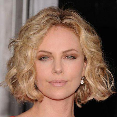 Outfit Ladylike Short Centre Parting Fashion Light Blonde Mixed Shaggy Curly Synthetic Wig For Women - COLORMIX  Mobile