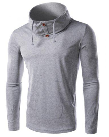 Discount Cowl Neck Slimming Button Embellished Long Sleeve Men's T-Shirt