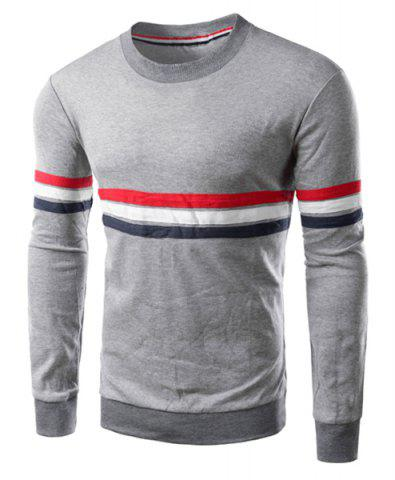 Shops Crew Neck Stripe Long Sleeve T Shirt - L GRAY Mobile