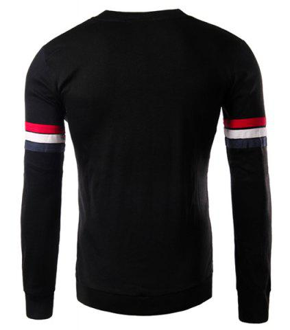Outfits Crew Neck Stripe Long Sleeve T Shirt - M BLACK Mobile