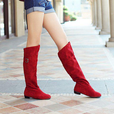 Fashion Buckled Pull On Knee High Boots - RED 39 Mobile
