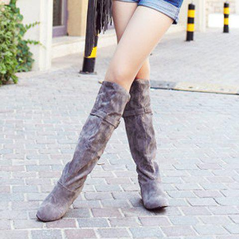 Hot Buckled Pull On Knee High Boots - 38 GRAY Mobile