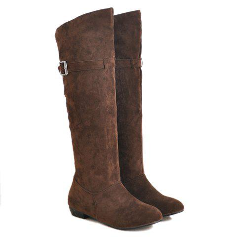 Fashion Buckled Pull On Knee High Boots - 37 DEEP BROWN Mobile