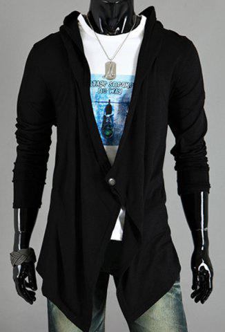 New Asymmetric One Button Single-Breasted Solid Color Hooded Long Sleeves Men's Cardigan BLACK XL