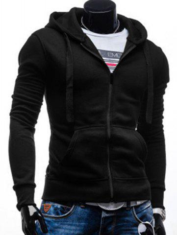 Outfit Simple Drawstring Hooded Front Pocket Solid Color Fitted Men's Long Sleeves Hoodie