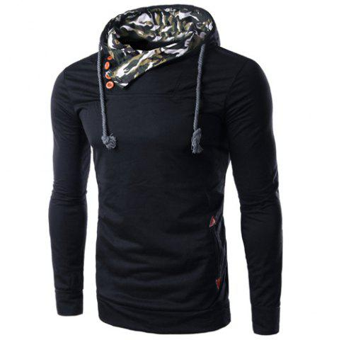 Sale Inclined Single-Breasted PU Leather Spliced Elbow Patch Camo Hooded Long Sleeves Men's Hoodie