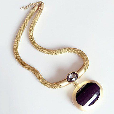 Noble Faux Crystal Rhinestone Pendant Necklace For Women - GOLDEN