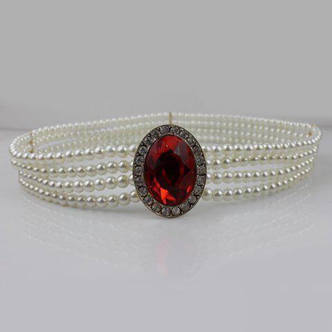 New Faux Gem Inlay Elastic Faux Pearl Chain Belt - RANDOM COLOR  Mobile