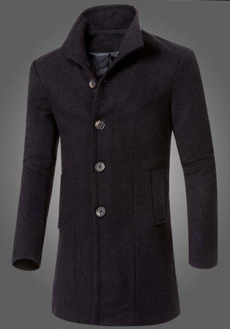 Latest Slimming Turn-Down Collar Long Sleeve Lengthen Single-Breasted Woolen Men's Coat
