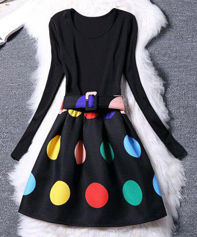 Women's Chic Long Sleeve Scoop Neck Colorful Dress - BLACK S