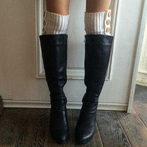 Outfit Pair of Chic Big Buttons and Stripy Embellished Knitted Leg Warmers For Women