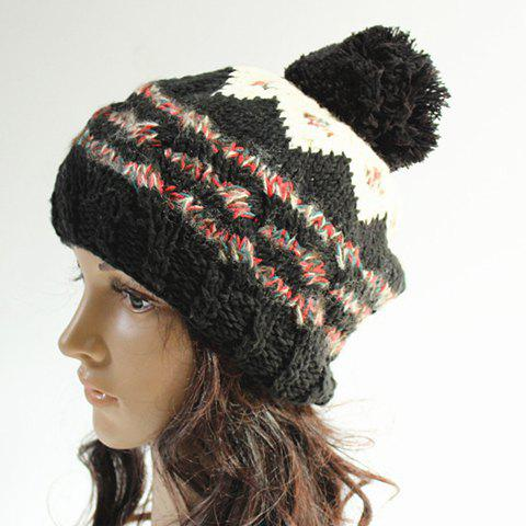 Affordable Chic Woolen Yarn Ball Embellished Stripe Pattern Knitted Beanie For Women