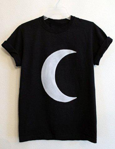 Outfit Casual Round Neck Moon Print Short Sleeve T-Shirt For Women