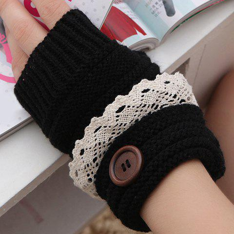 Shops Pair of Chic Button and Lace Embellished Knitted Fingerless Gloves For Women
