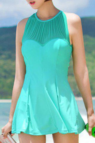 Discount Sexy Jewel Neck Cut Out Ruffled One-Piece Swimsuit For Women - XL LIGHT GREEN Mobile