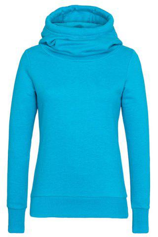 Simple Hooded Long Sleeve Solid Color Slimming Women's Hoodie - Azure - M