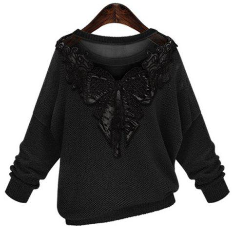Hot Stylish Jewel Neck Long Sleeve Lace Splicing Bowknot Embellished Sweater For Women