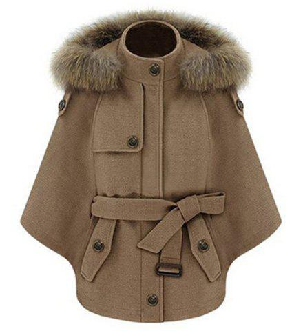 Affordable Trendy Convertible Faux Fur Hooded Thick Belted Wool Cloak Cape For Women