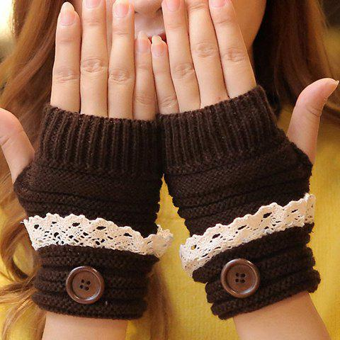 Sale Pair of Chic Button and Lace Embellished Knitted Fingerless Gloves For Women