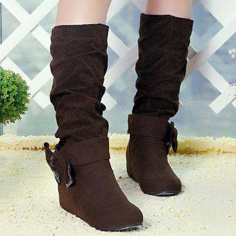 Buy Graceful Bow and Suede Design Women's Mid-Calf Boots