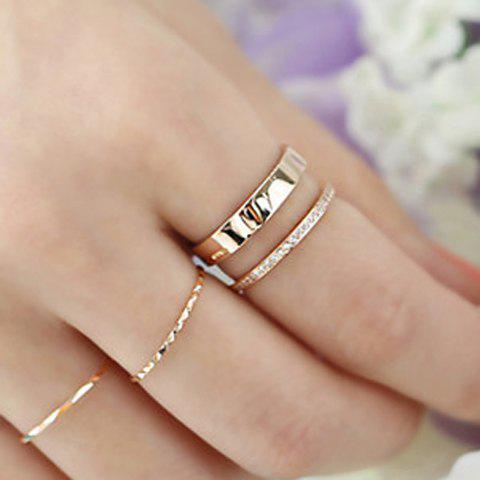 Latest Rhinestone Hollow Out Two Layered Cuff Ring ROSE GOLD ONE-SIZE
